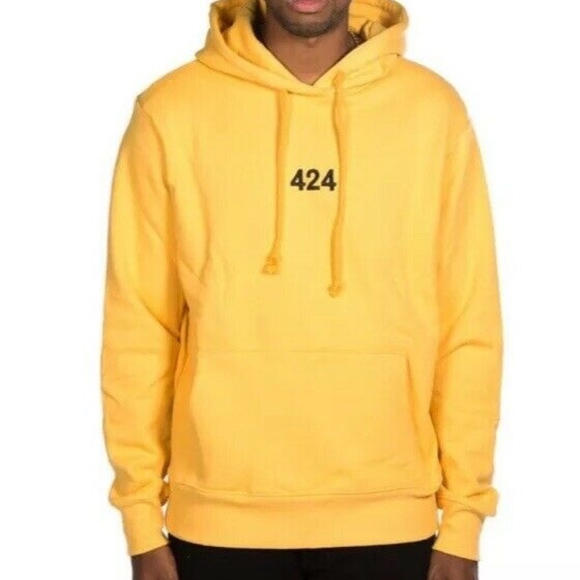 86b2a09f3 424 Shirts | Logo Print Hoodie Sweatshirt Yellow Black Sz L | Poshmark